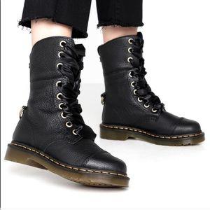 Dr MARTENS ALMILITA Black Leather Boots Size : 10